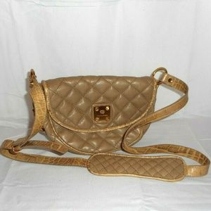 Francesco Biasia Beige Quilted Leather Purse